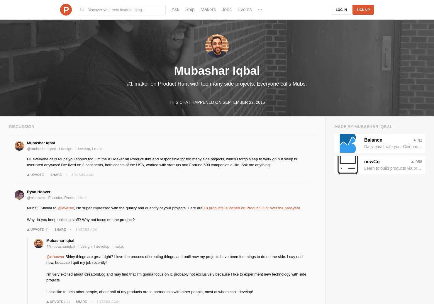 Mubashar Iqbal LIVE Chat on Product Hunt