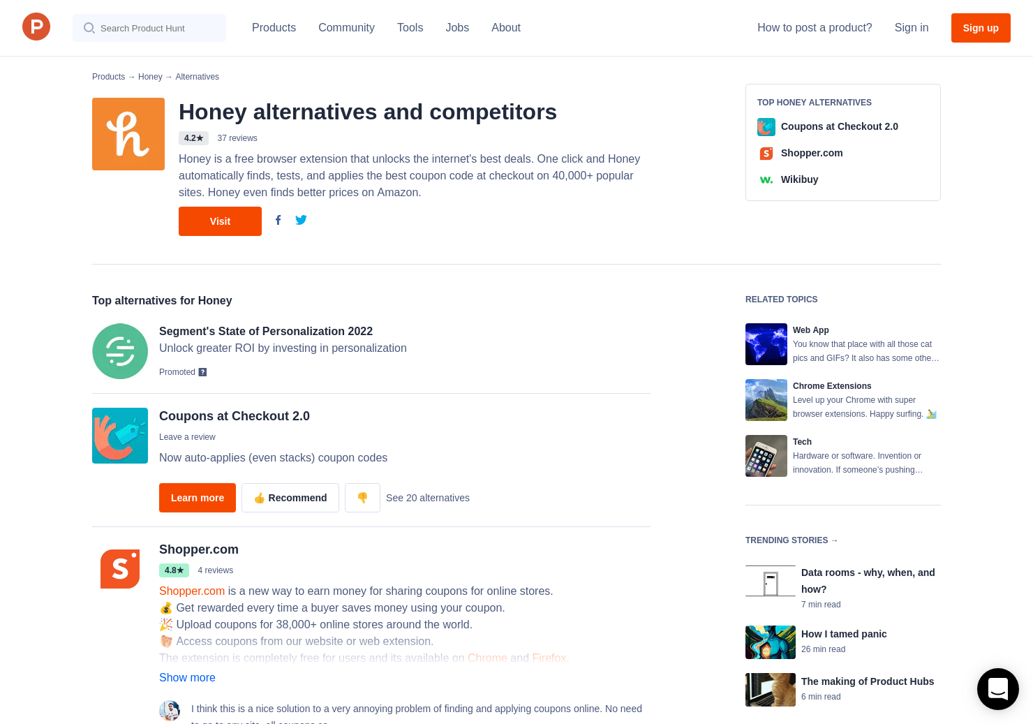 21 Alternatives to Honey for Chrome Extensions | Product Hunt