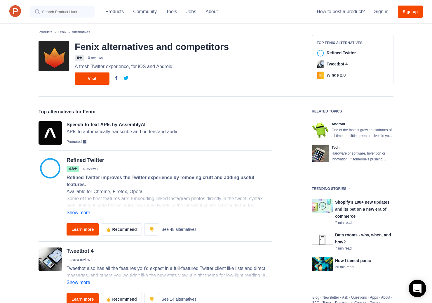 12 Alternatives to Fenix for Twitter for Android | Product Hunt