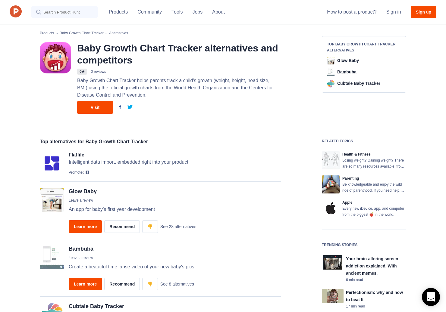 2 alternatives to baby growth chart tracker product hunt