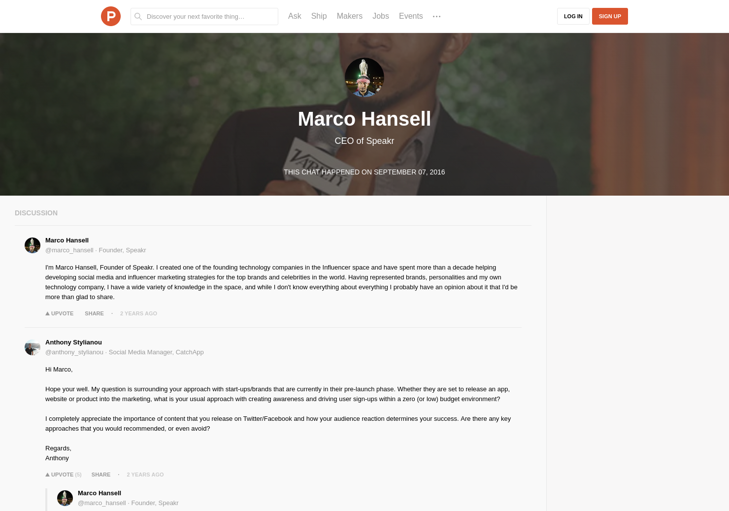 Marco Hansell LIVE Chat on Product Hunt