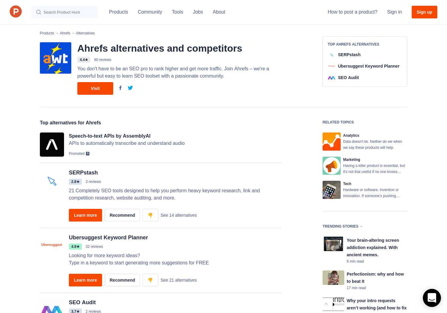 7 Alternatives to ahrefs | Product Hunt