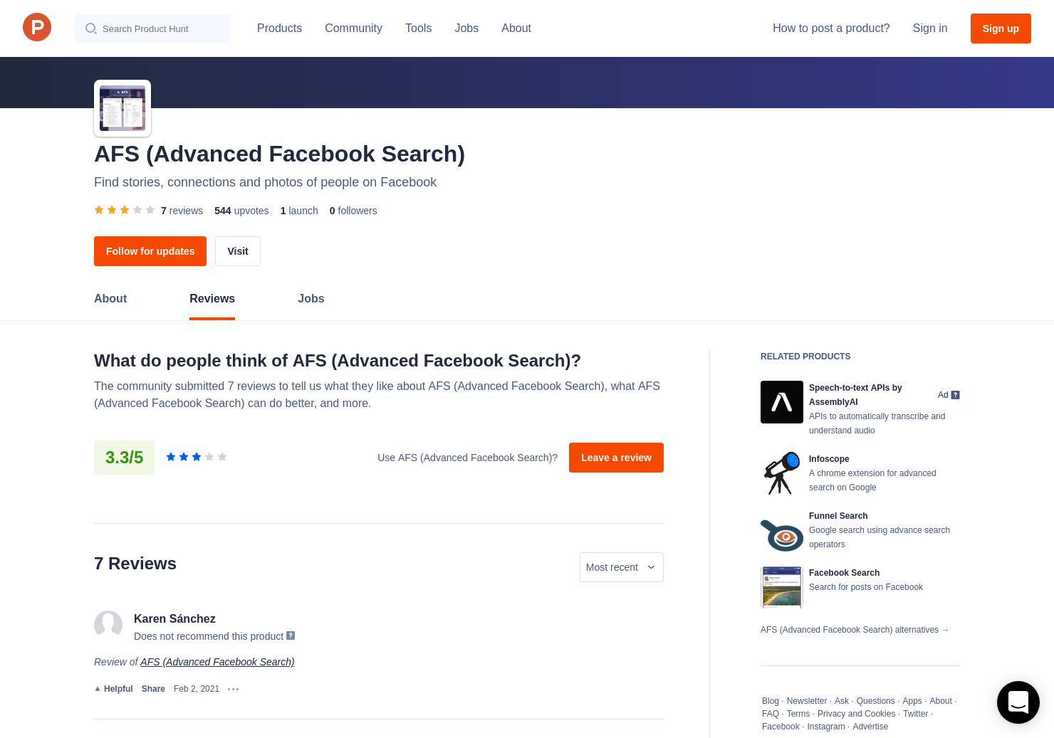 6 AFS (Advanced Facebook Search) Reviews - Pros, Cons and Rating