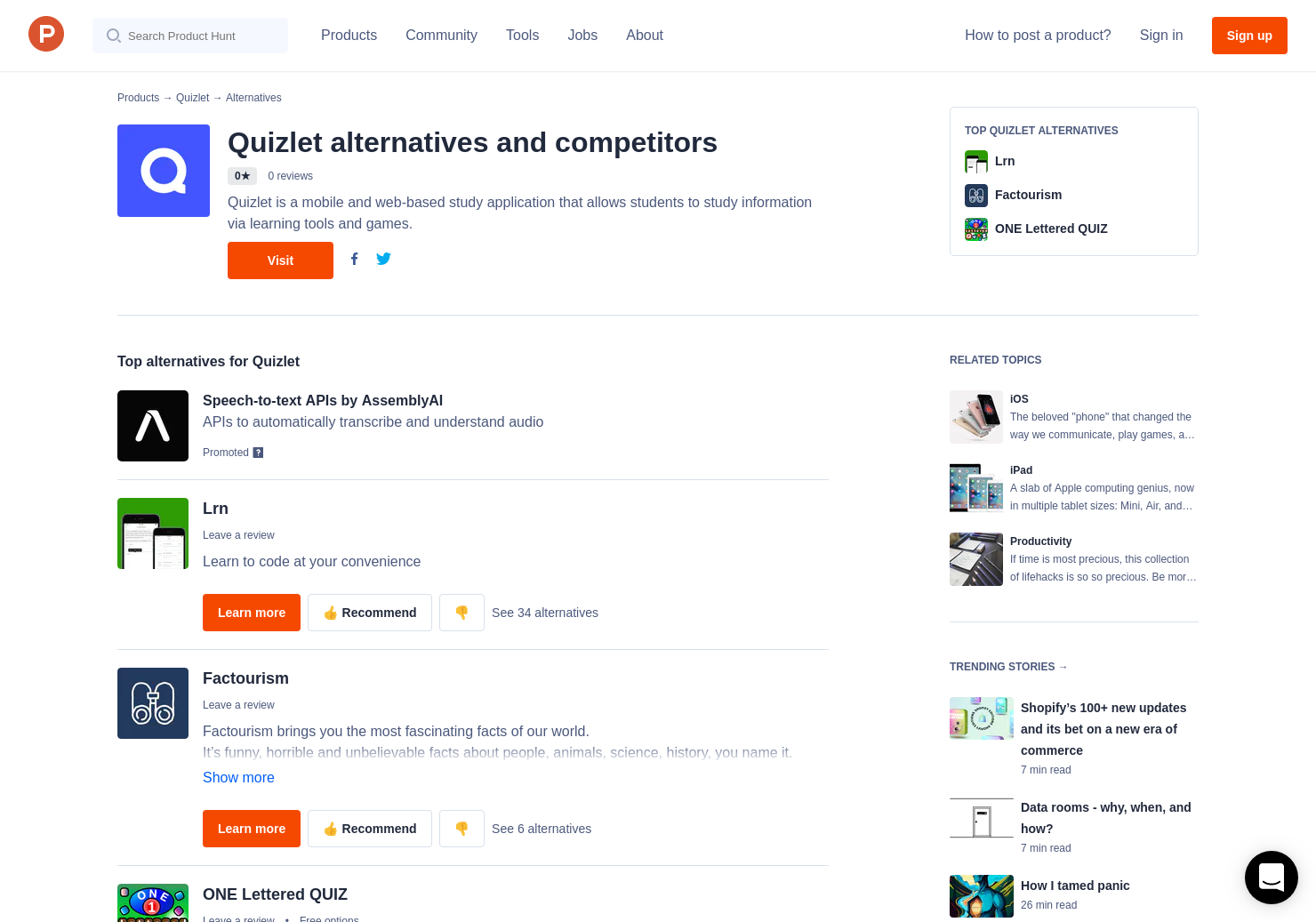 3 Alternatives to Quizlet Learn for iPhone, iPad | Product Hunt