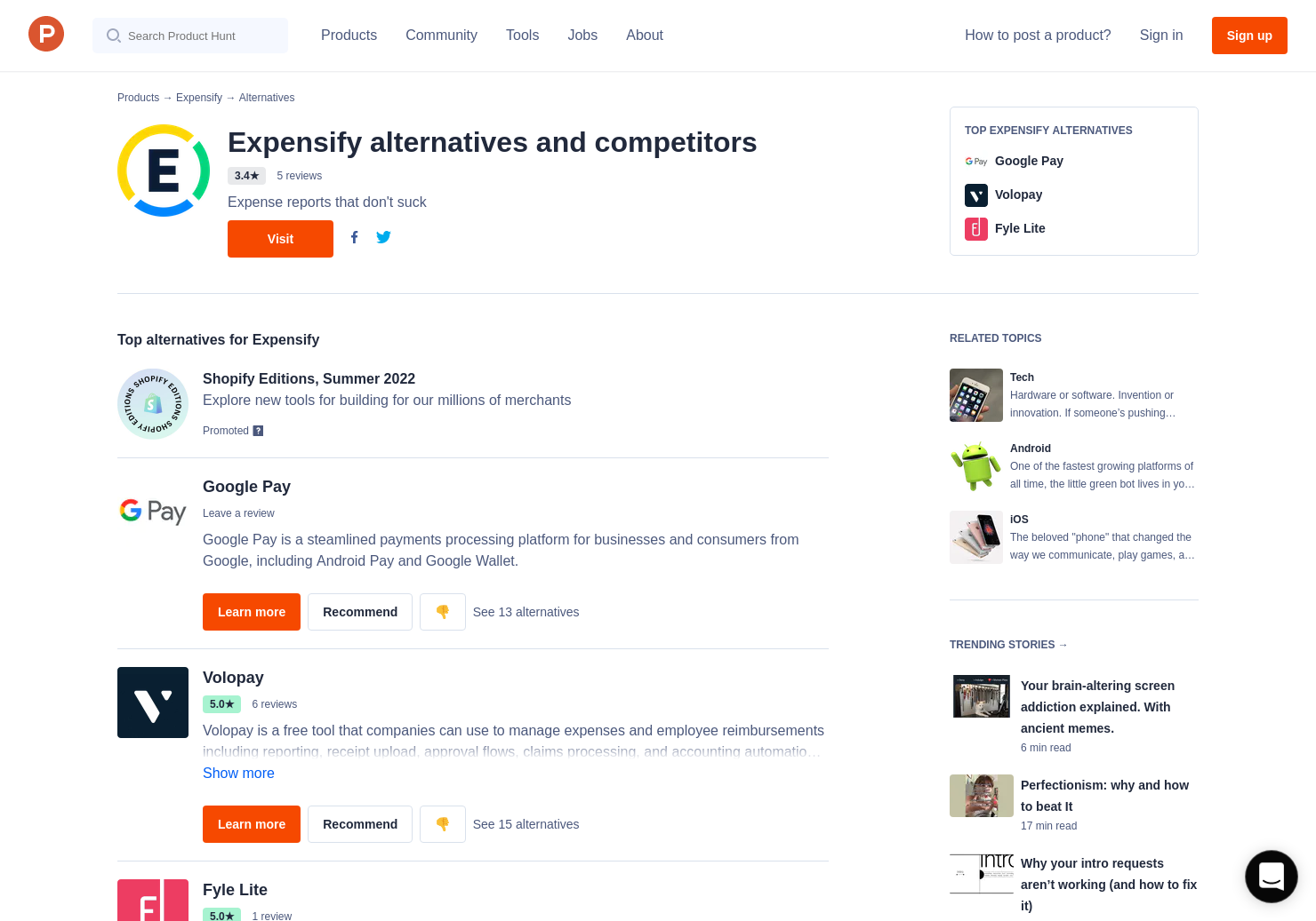 1 alternatives to expensify smartrides product hunt