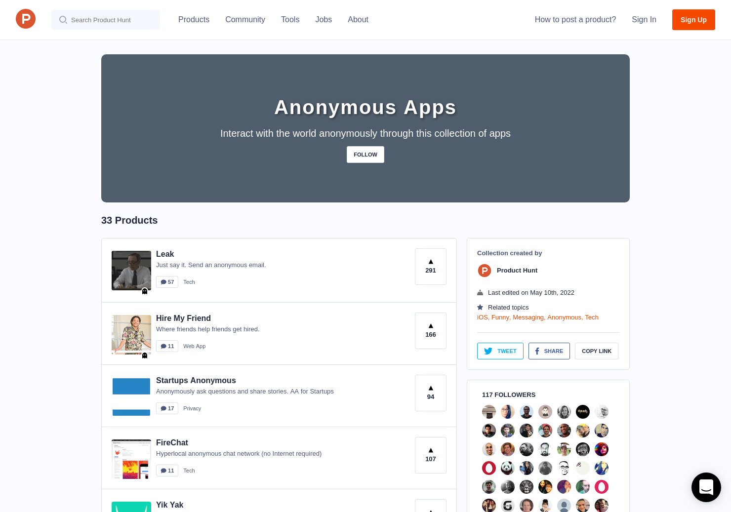 Anonymous Apps | Product Hunt