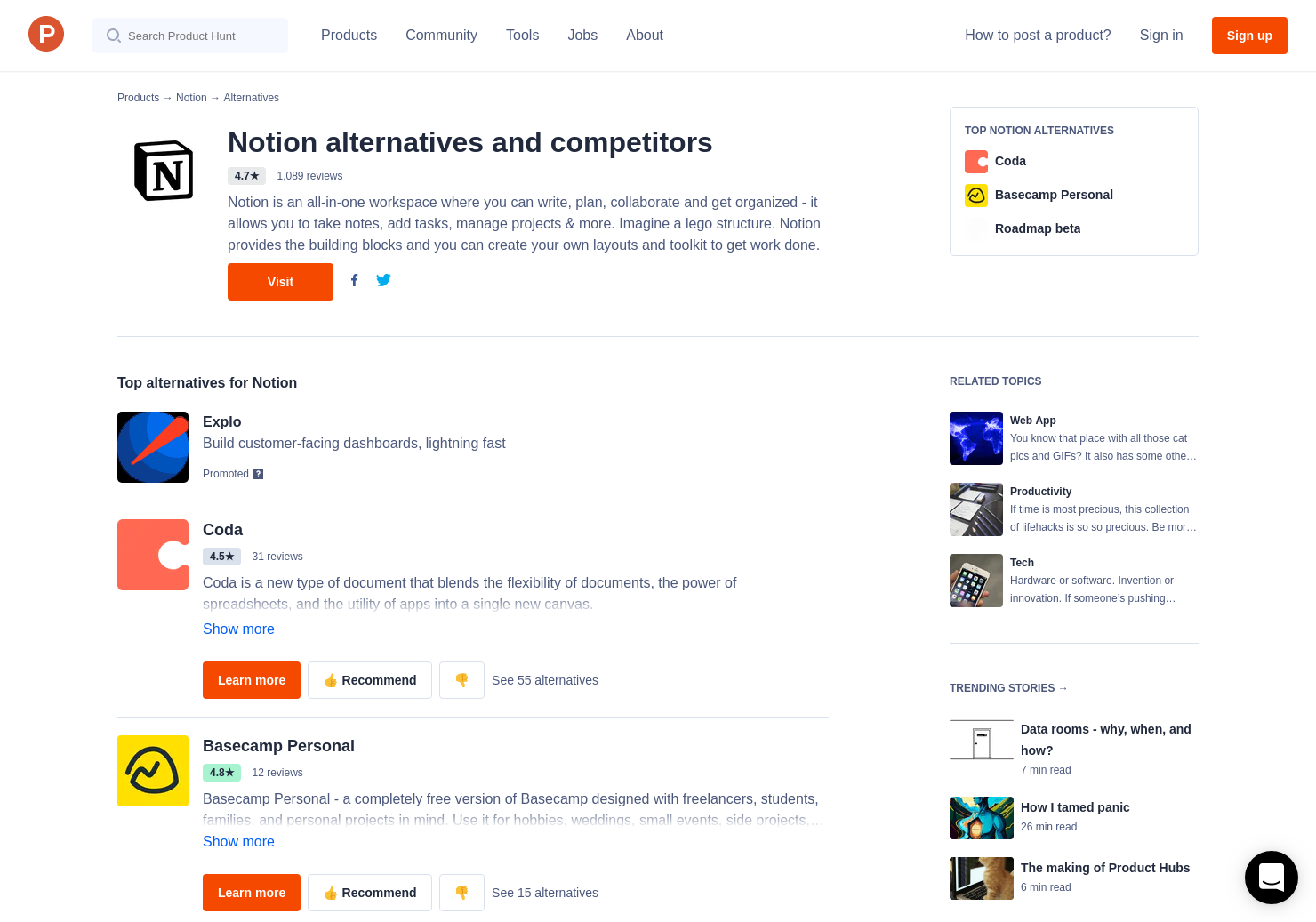 45 Alternatives to Notion 2 0 | Product Hunt