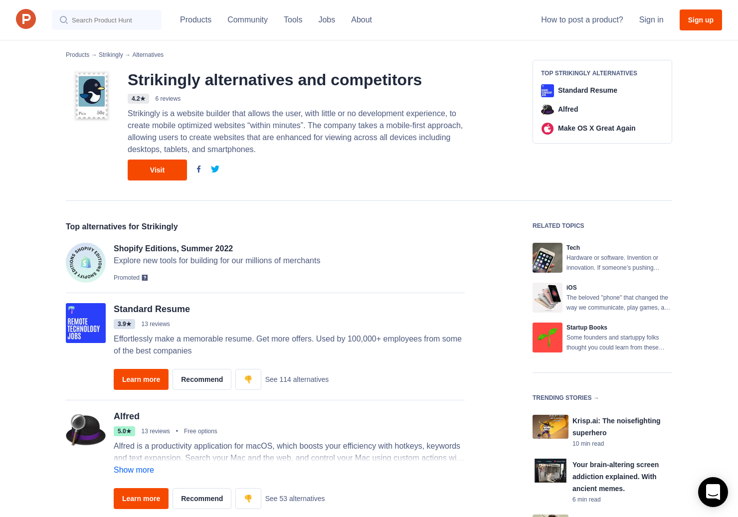 9 Alternatives to Strikingly - Resume - Product Hunt