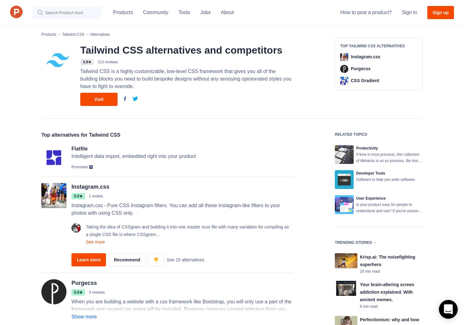 10 Alternatives to Tailwind CSS | Product Hunt