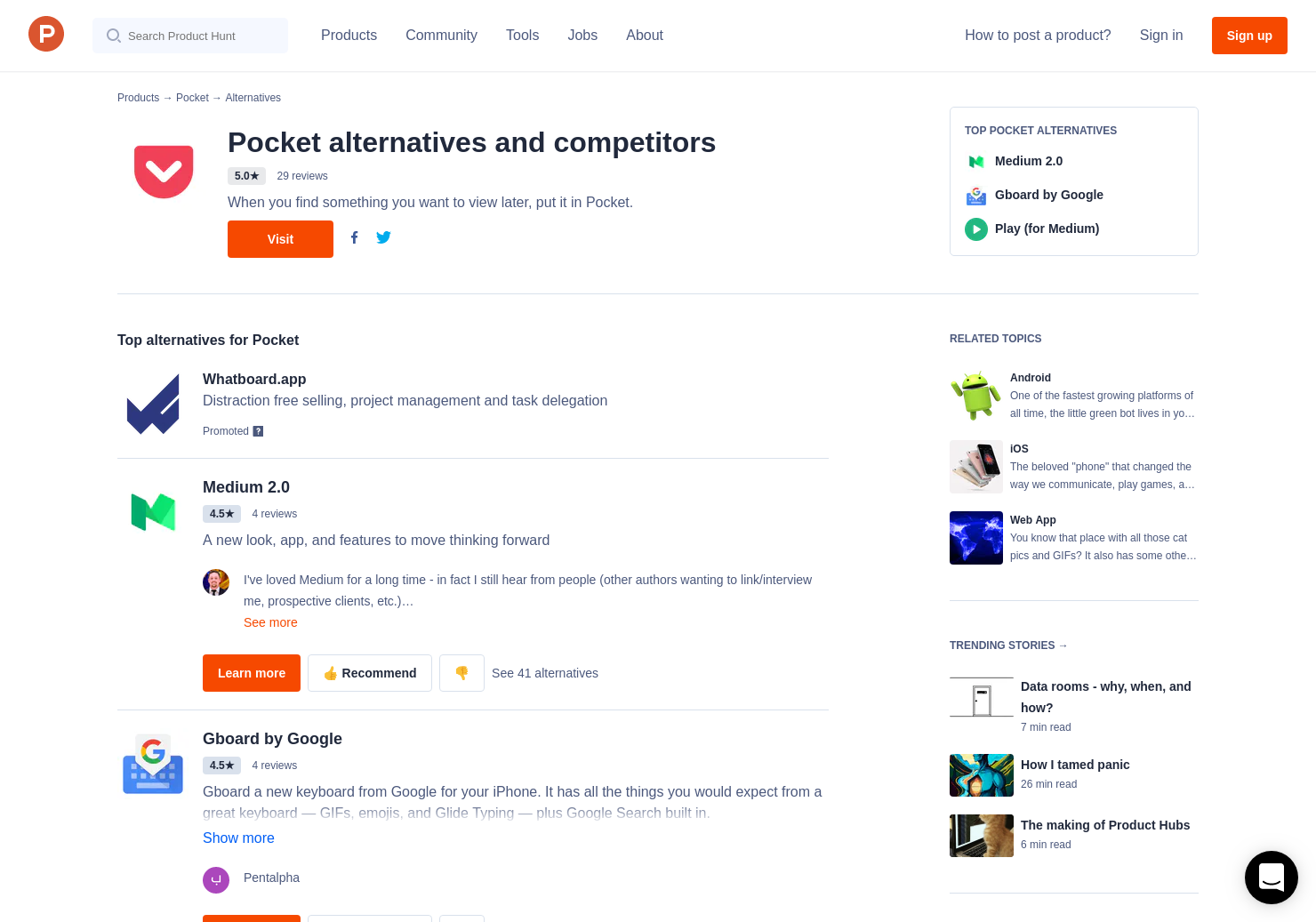 35 Alternatives to Pocket for Web | Product Hunt