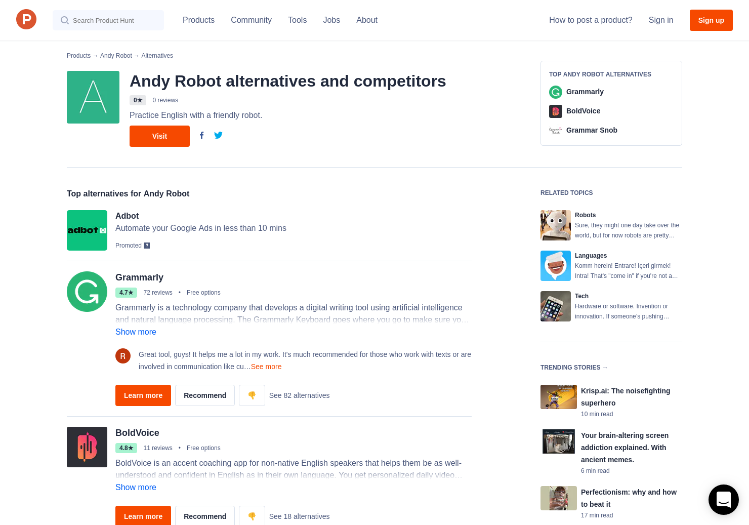 5 Alternatives to Andy English Bot | Product Hunt