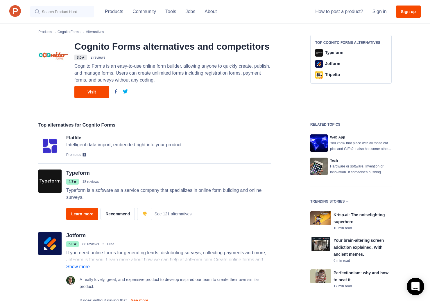 14 Alternatives to Cognito Forms | Product Hunt