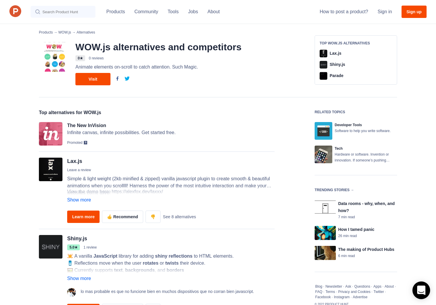 3 Alternatives to WOW js | Product Hunt