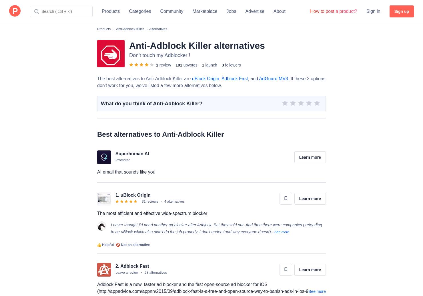 4 Alternatives to Anti-Adblock Killer | Product Hunt