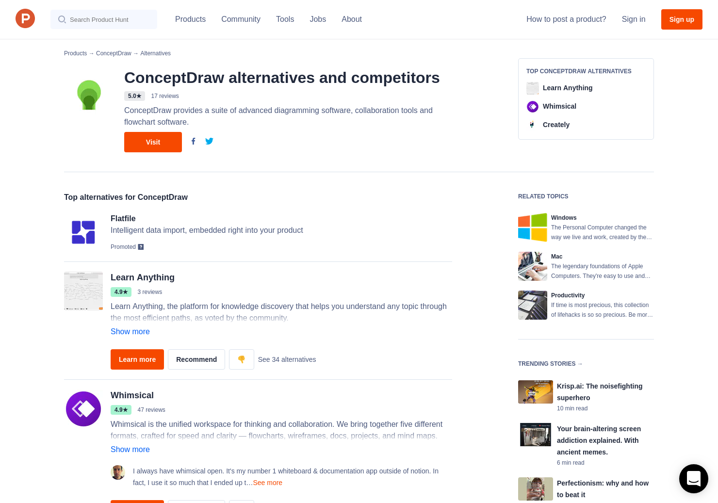 14 alternatives to conceptdraw mindmap for windows mac product hunt - Conceptdraw Mind Map