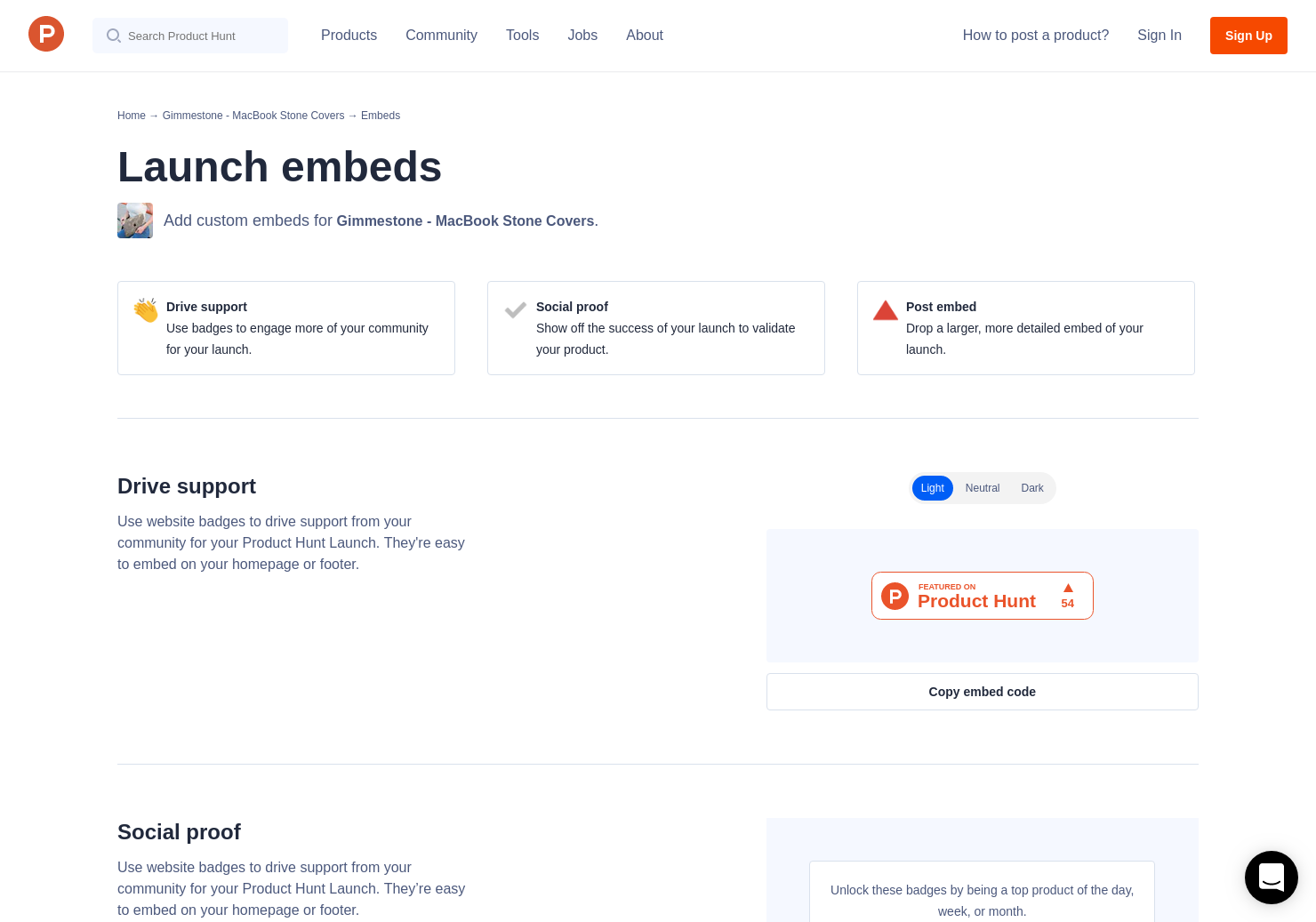 online store 7d514 42fcf Badges & Embeds | Product Hunt