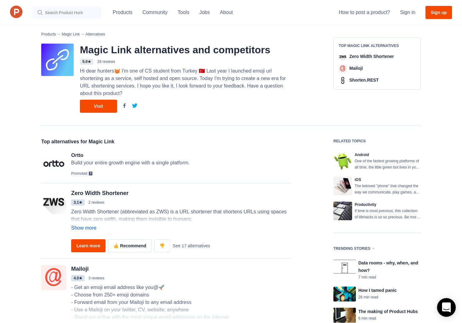 20 Alternatives to Magic Link for Android, iPhone   Product Hunt