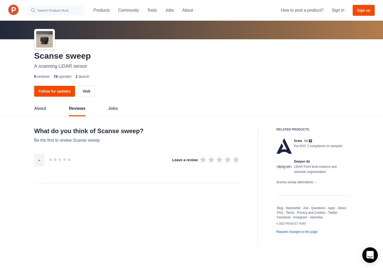 Scanse sweep Reviews - Pros, Cons and Rating | Product Hunt