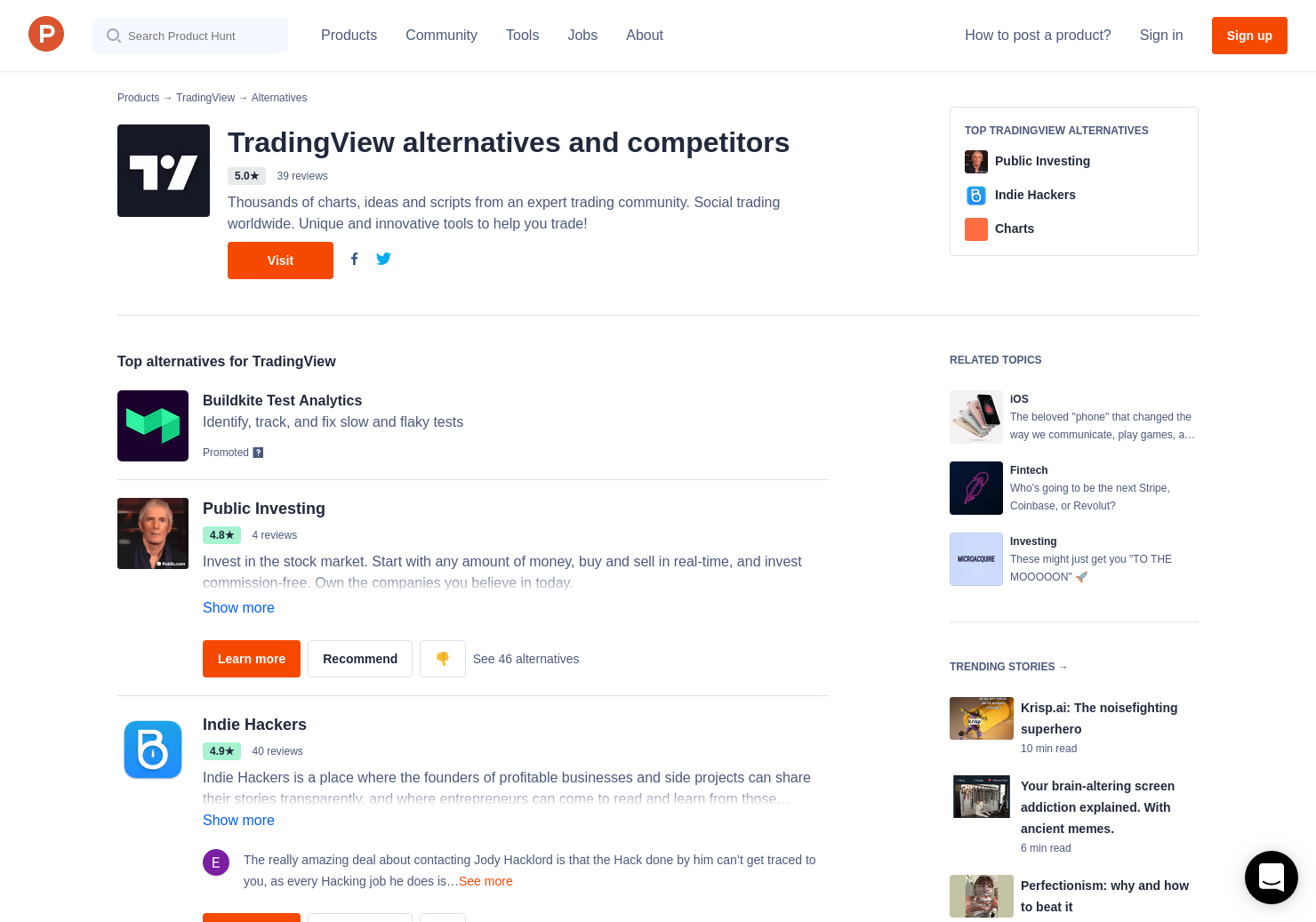 19 Alternatives to TradingView for iPhone | Product Hunt