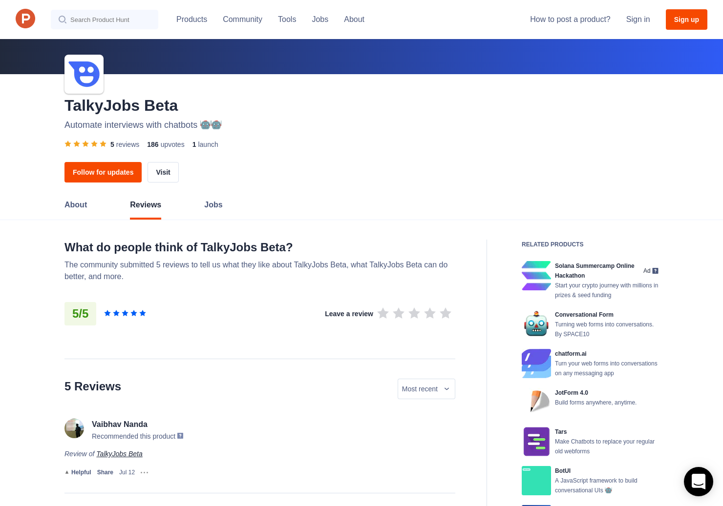Curtis Smith's review of TalkyJobs Beta | Product Hunt