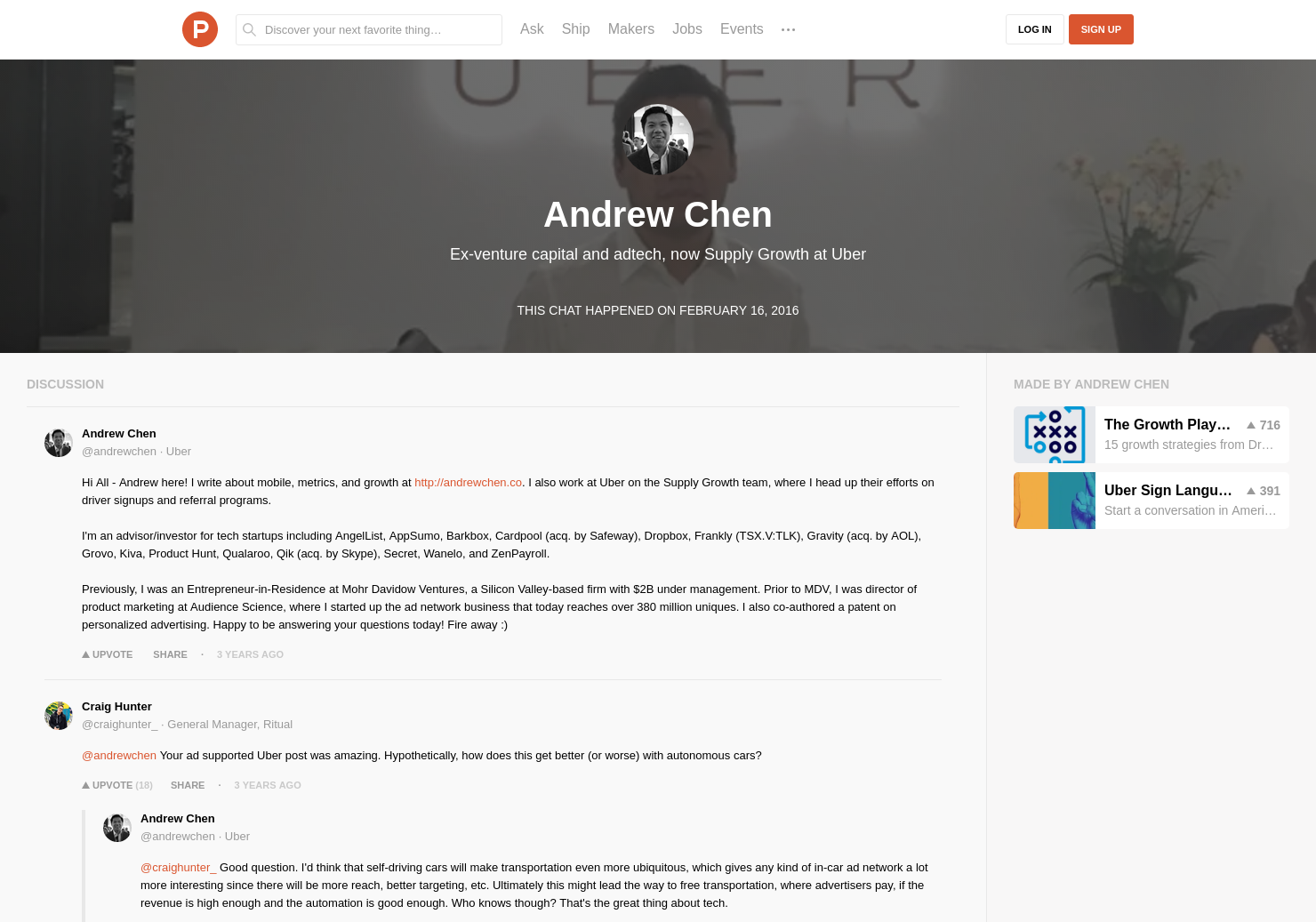 Andrew Chen LIVE Chat on Product Hunt