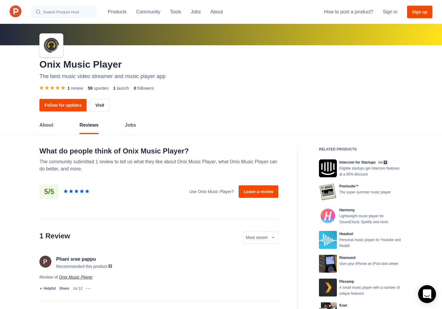 Onix Music Player Reviews - Pros, Cons and Rating | Product Hunt