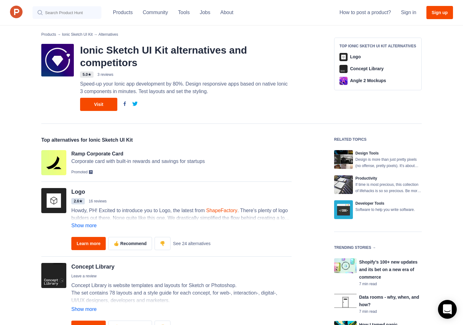 6 Alternatives to Ionic Sketch UI Kit | Product Hunt
