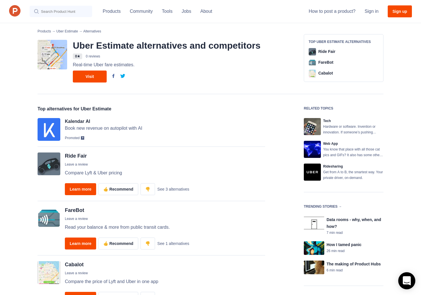 5 Alternatives To Uber Fare Estimate Product Hunt