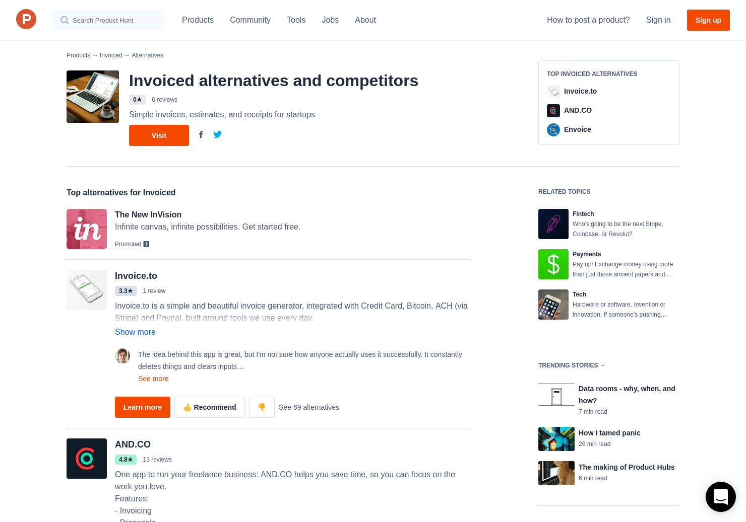 14 alternatives to invoiced product hunt
