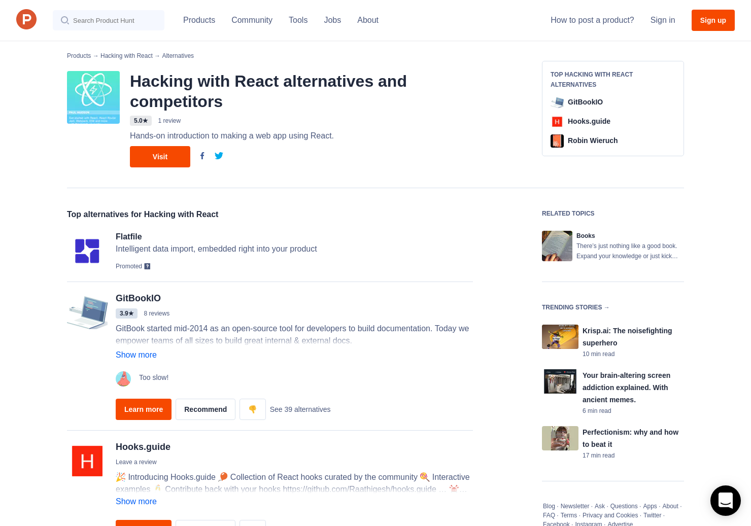 3 Alternatives to Hacking with React | Product Hunt