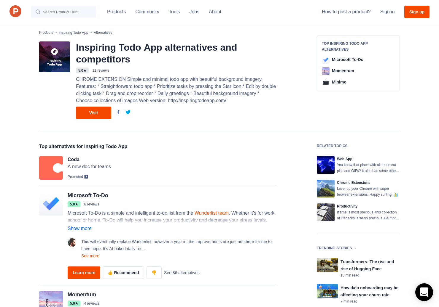 17 Alternatives to Inspiring Todo App for Chrome Extensions