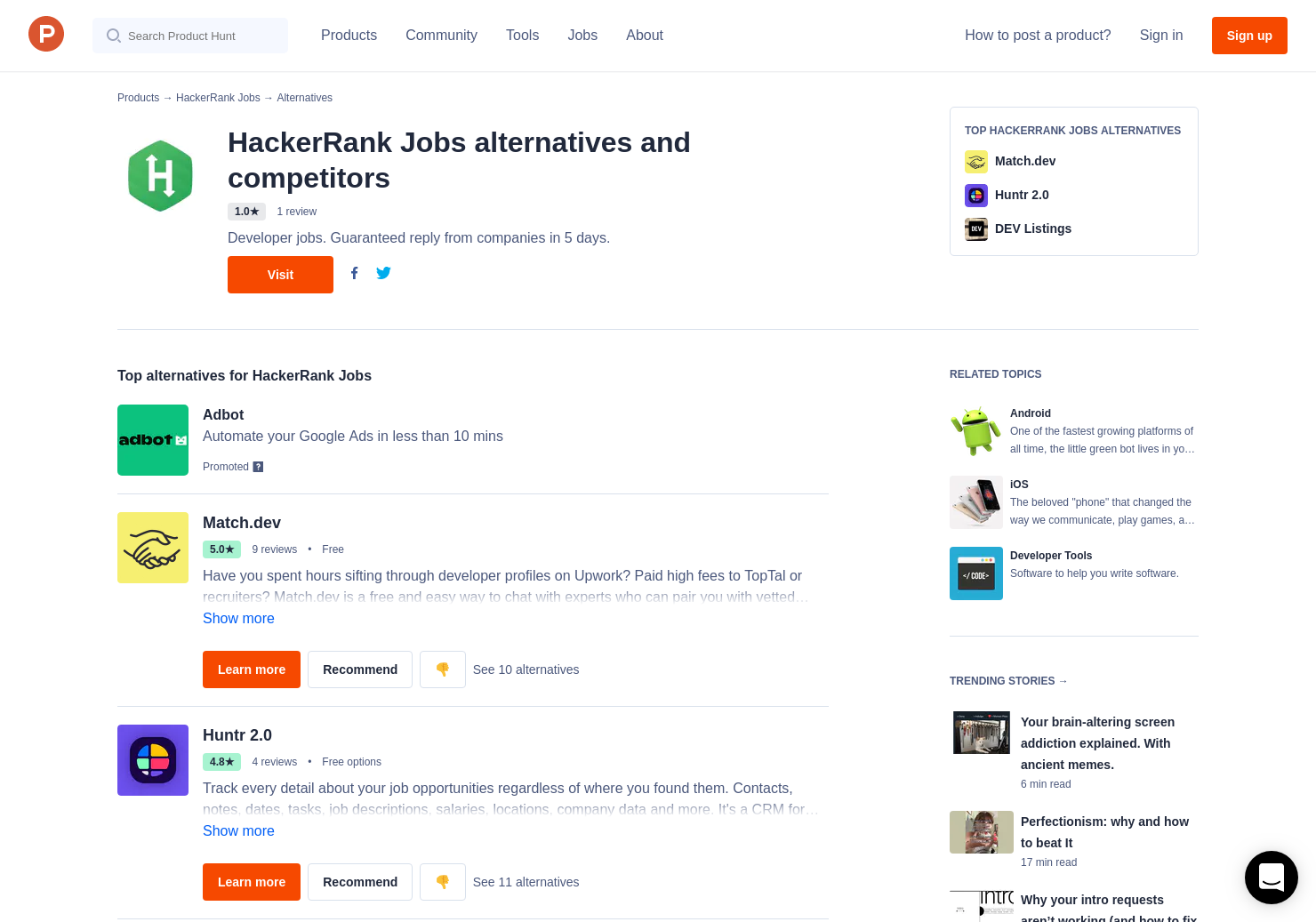 10 Alternatives to HackerRank Jobs for Android, iPhone