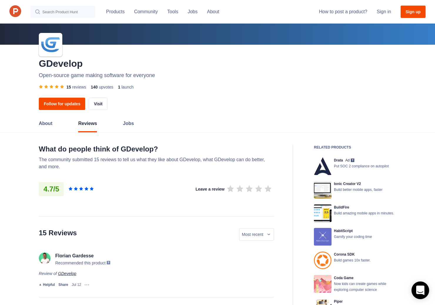 Damien Bommart's review of GDevelop | Product Hunt