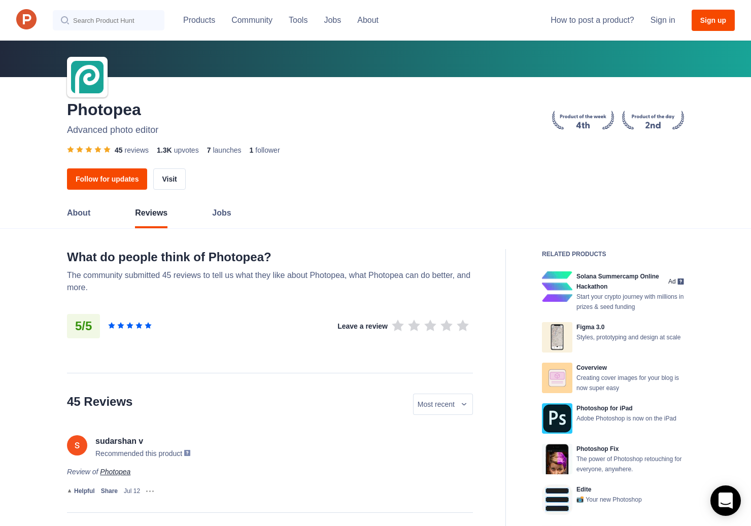 2 Photopea Reviews - Pros, Cons and Rating   Product Hunt