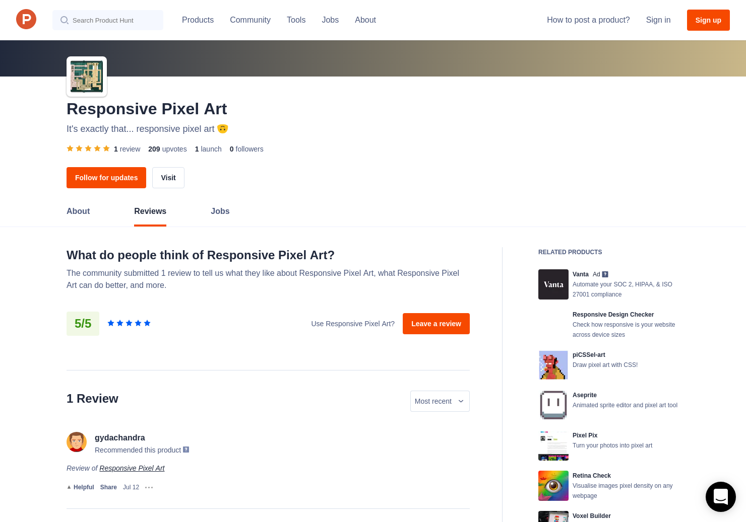 Responsive Pixel Art Reviews - Pros, Cons and Rating | Product Hunt