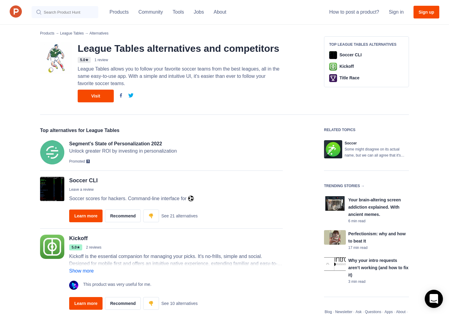 4 Alternatives to League Tables | Product Hunt