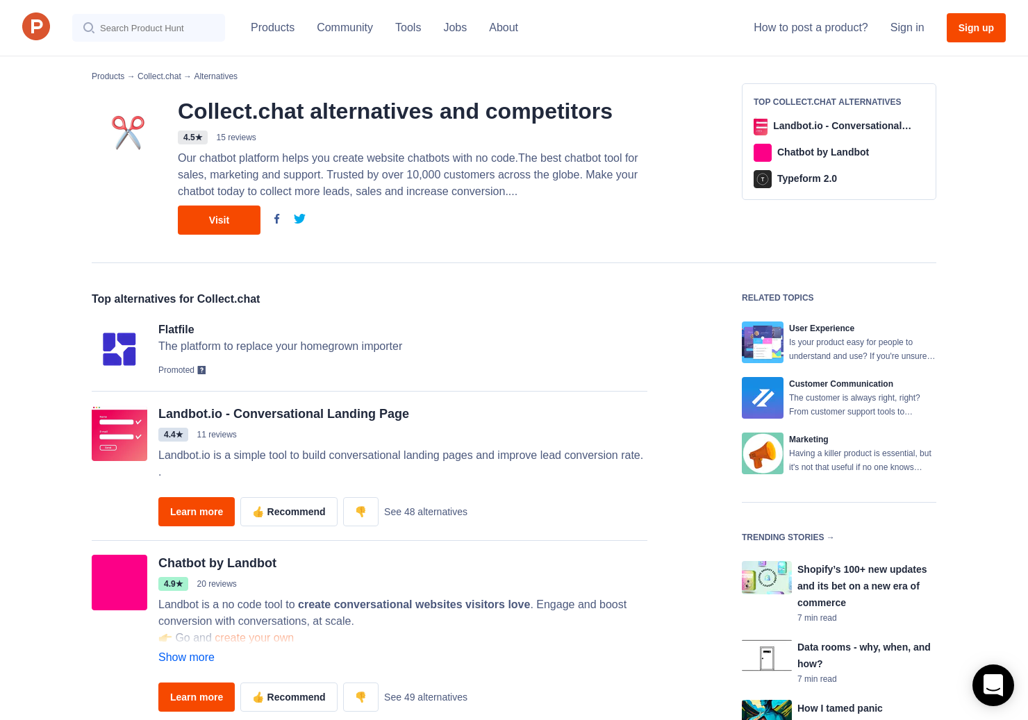 6 Alternatives to Collect chat - Chatbot for websites | Product Hunt
