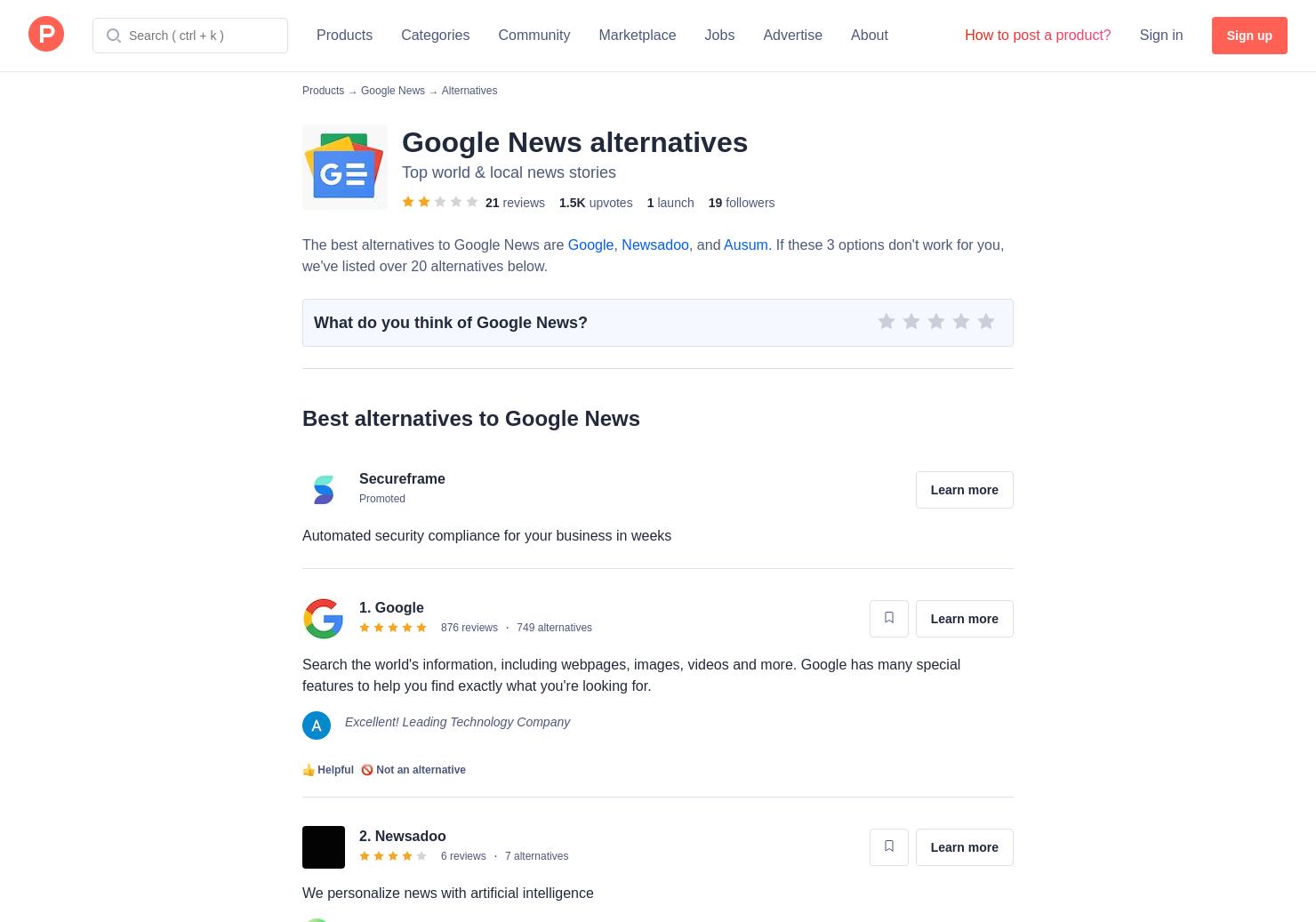 26 Alternatives to Google News | Product Hunt