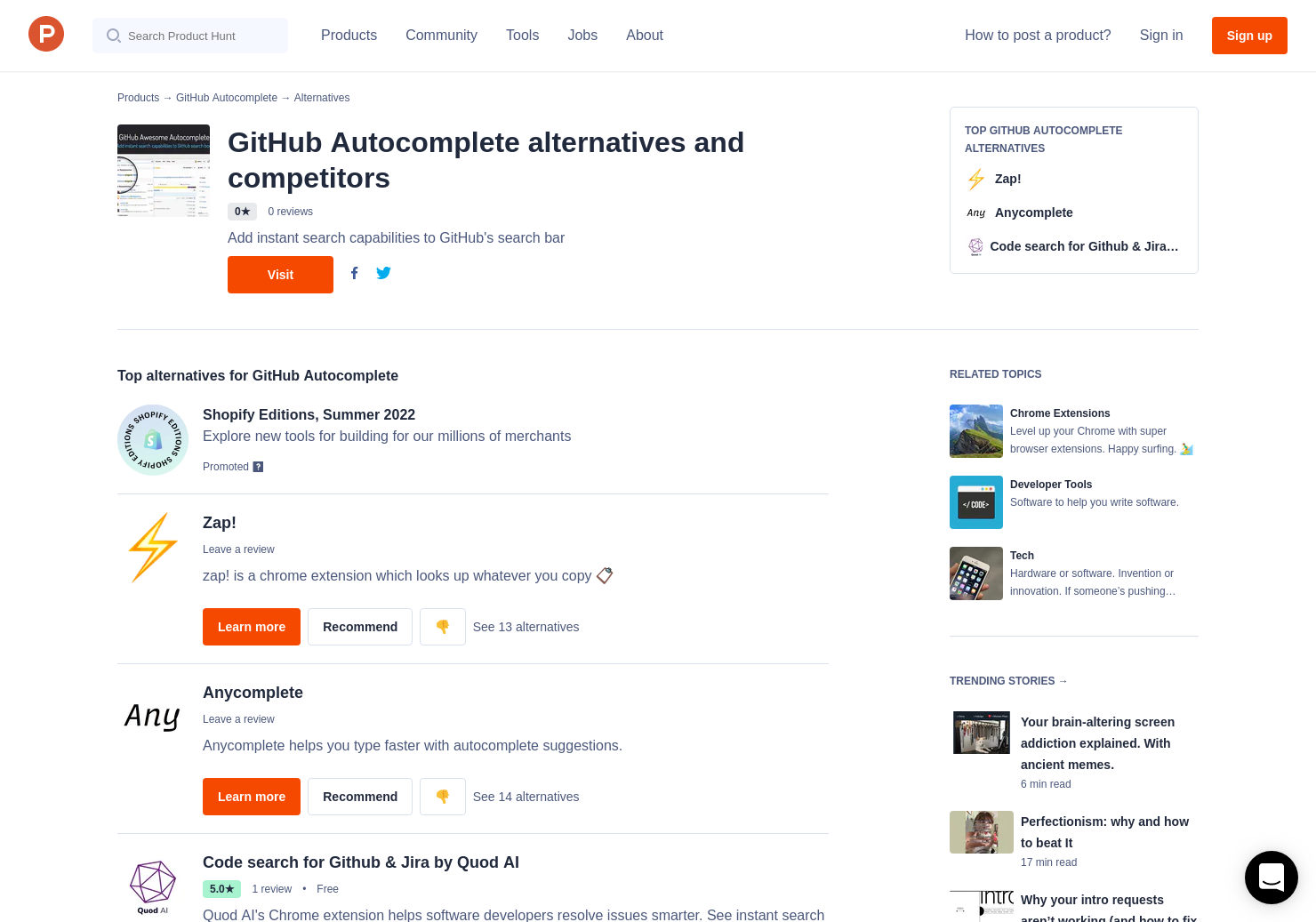 6 Alternatives to GitHub Autocomplete for Chrome Extensions