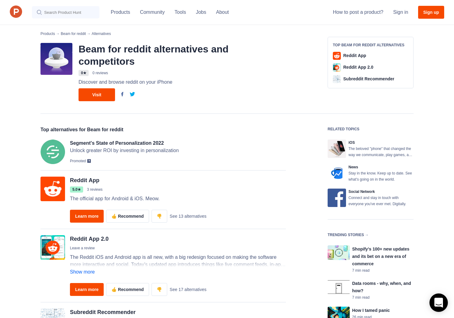 11 Alternatives to Beam for reddit for iPhone | Product Hunt