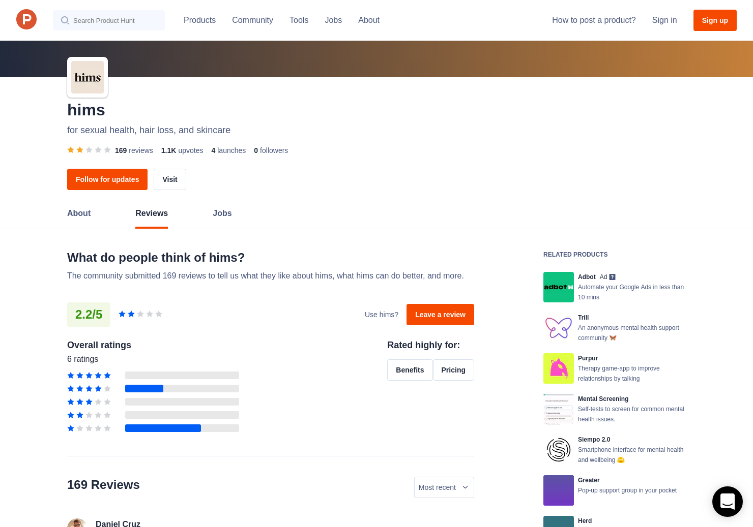 72 Hims Reviews - Pros, Cons and Rating | Product Hunt