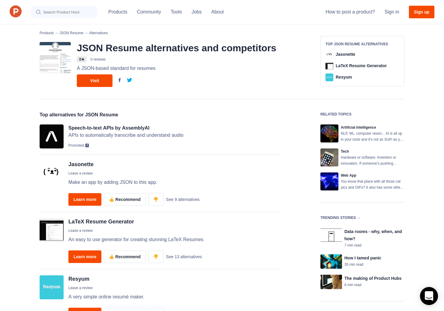 3 Alternatives To Json Resume Product Hunt