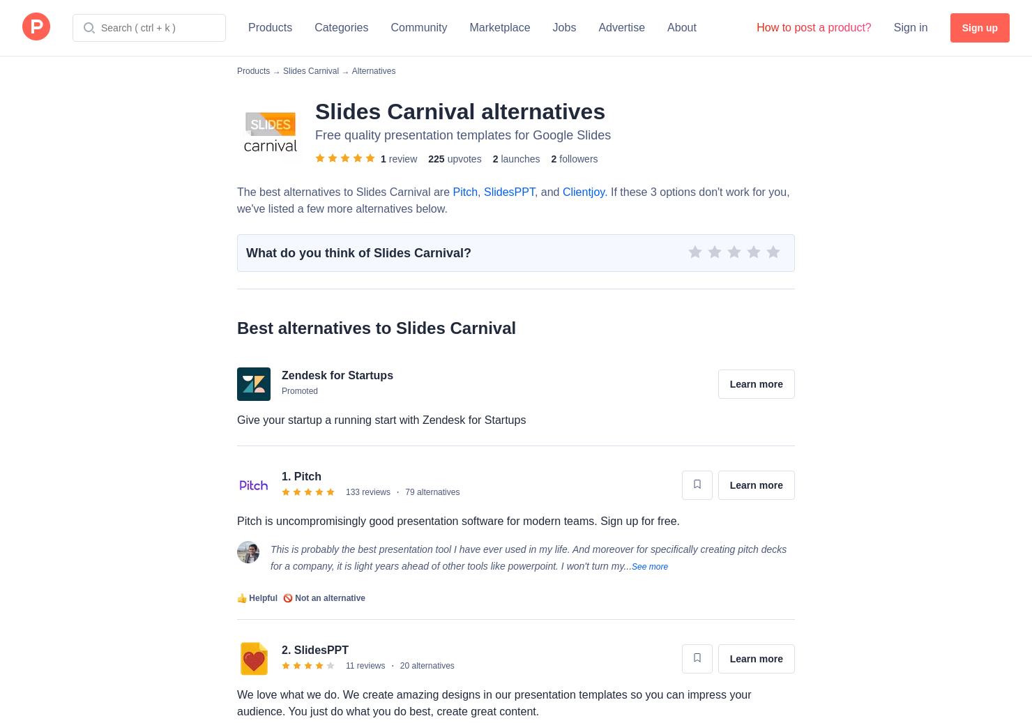 3 alternatives to slides carnival product hunt