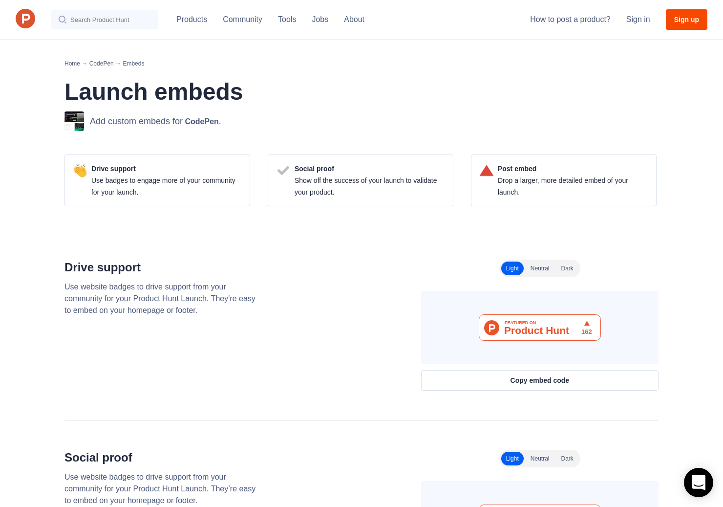 Badges & Embeds | Product Hunt