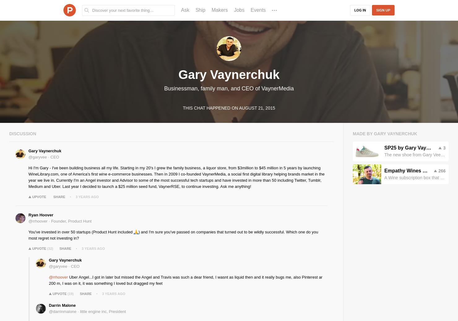 Gary Vaynerchuk LIVE Chat on Product Hunt