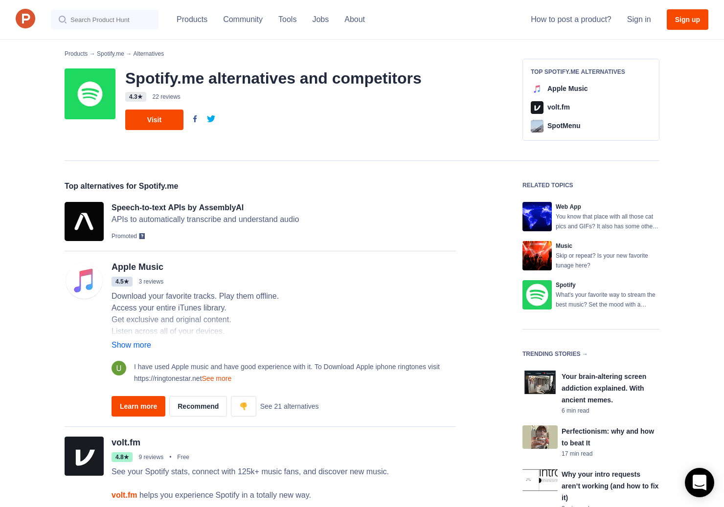 19 Alternatives to Spotify me | Product Hunt