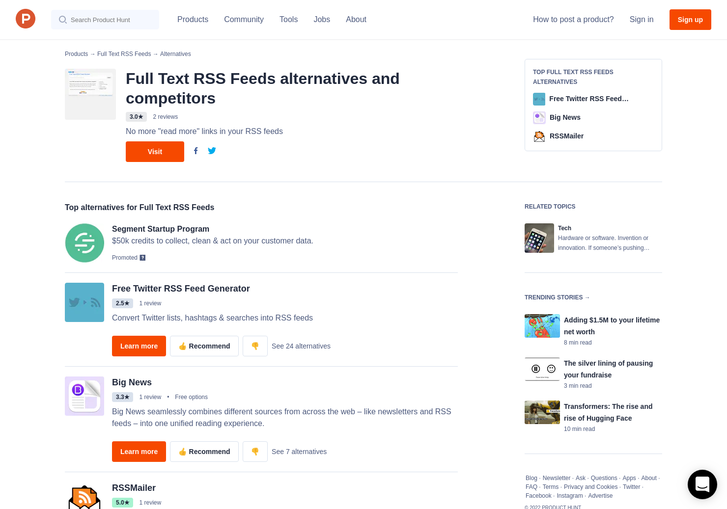 7 Alternatives to Full Text RSS Feeds | Product Hunt