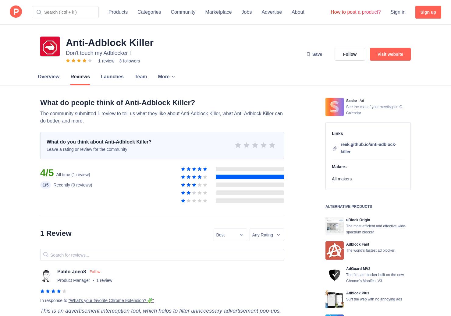 Anti-Adblock Killer Reviews - Pros, Cons and Rating