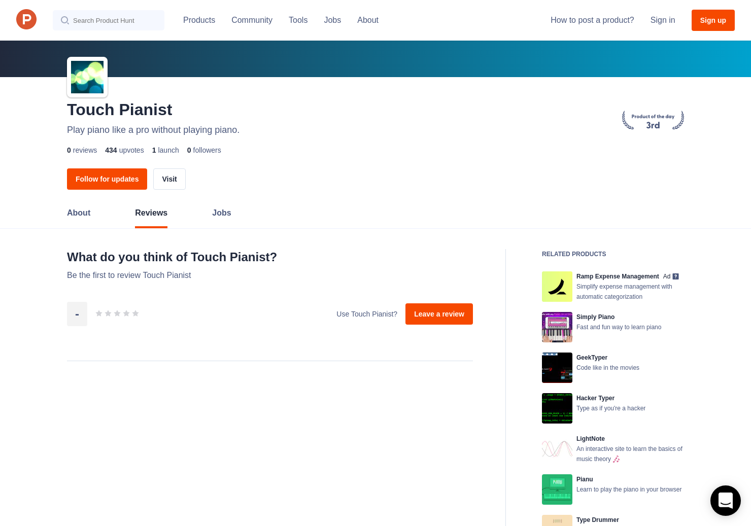 Touch Pianist Reviews - Pros, Cons and Rating | Product Hunt