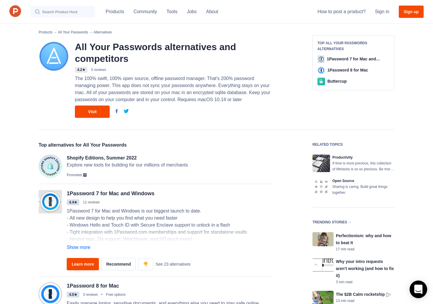 11 Alternatives to All Your Passwords | Product Hunt